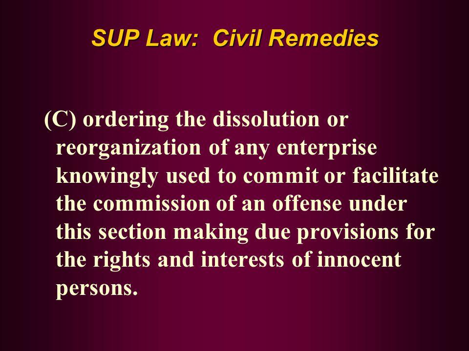SUP Law: Civil Remedies