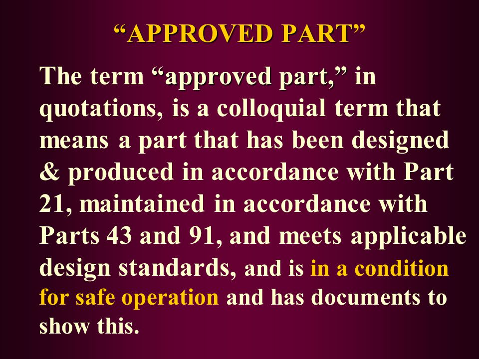 APPROVED PART