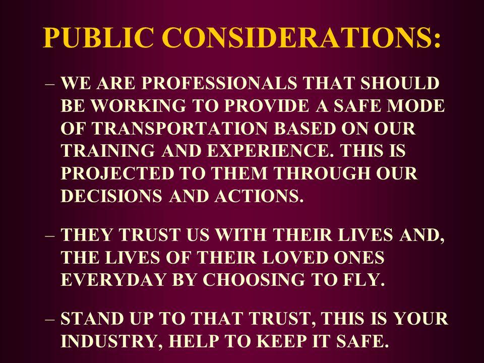 PUBLIC CONSIDERATIONS: