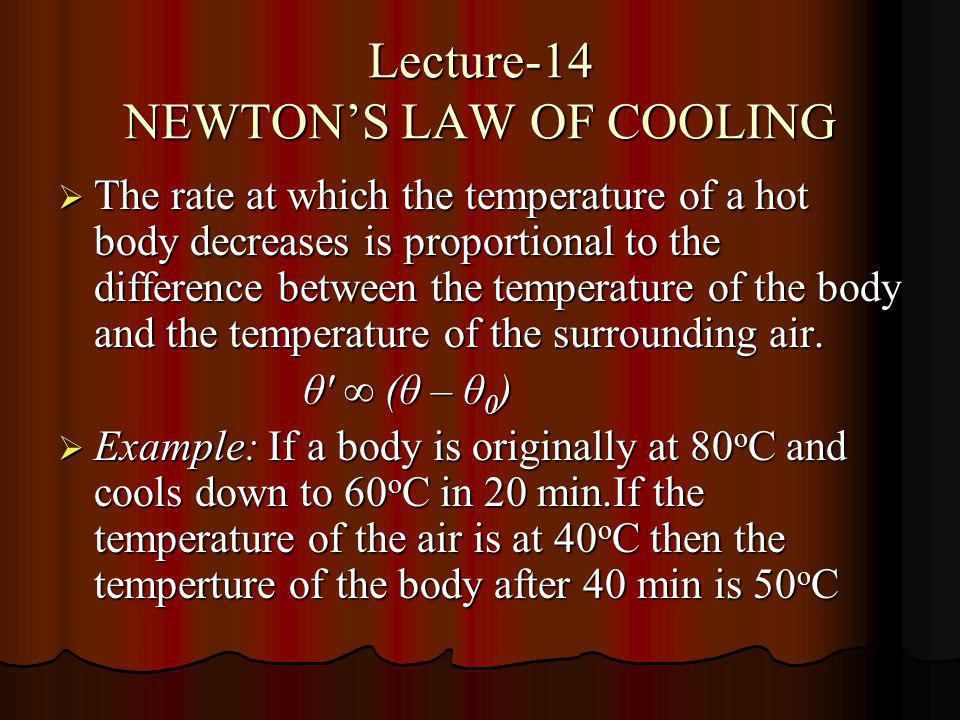 Lecture-14 NEWTON'S LAW OF COOLING