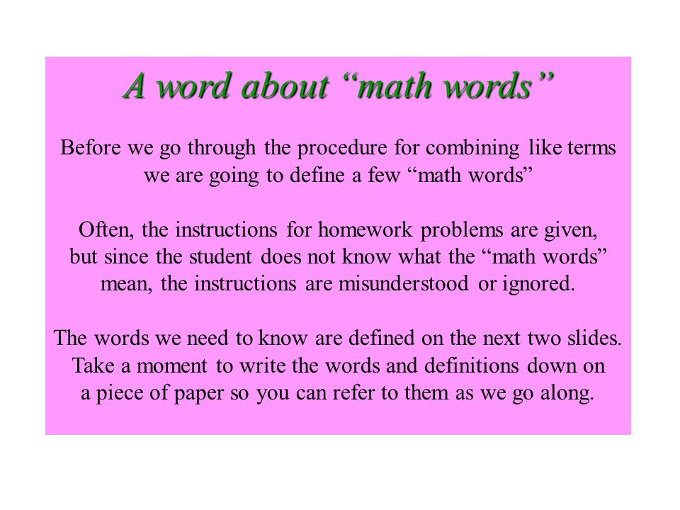 A word about math words