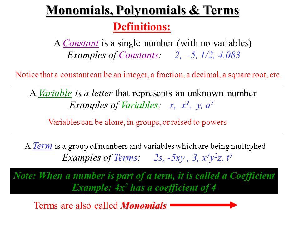 Monomials, Polynomials & Terms