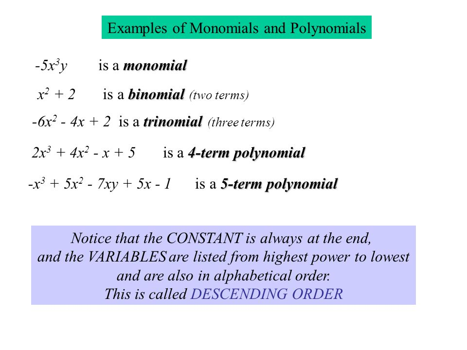 Examples of Monomials and Polynomials