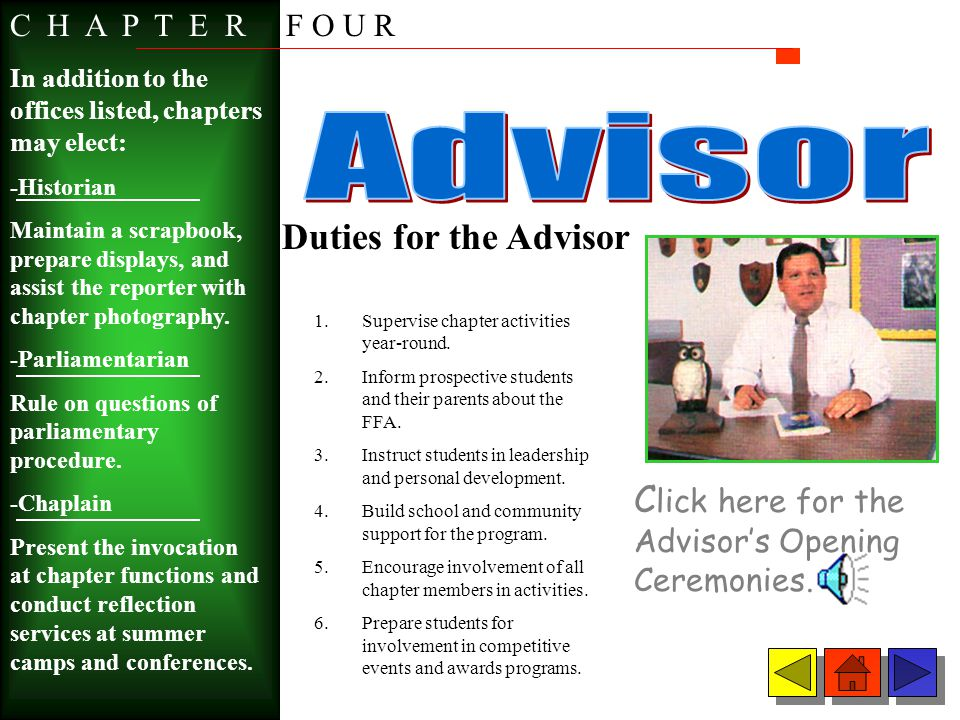 Advisor Duties for the Advisor