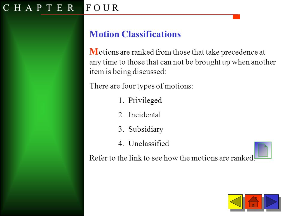 Motion Classifications