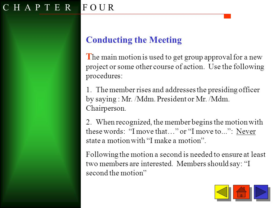 Conducting the Meeting