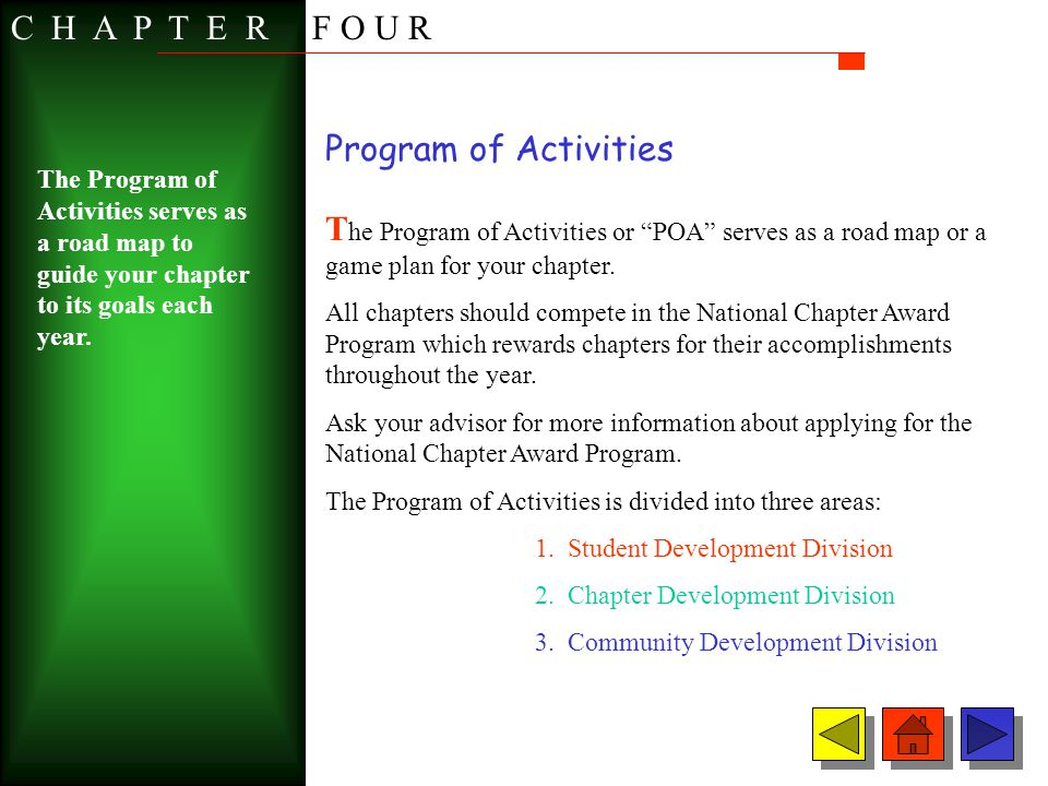 C H A P T E R F O U R Program of Activities