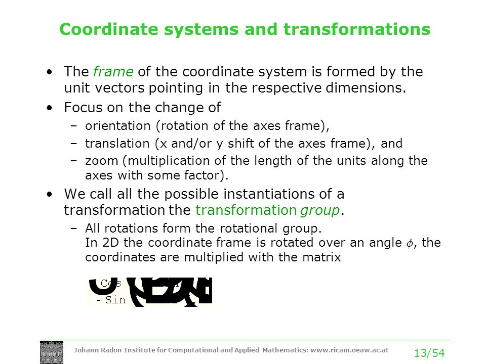 Coordinate systems and transformations