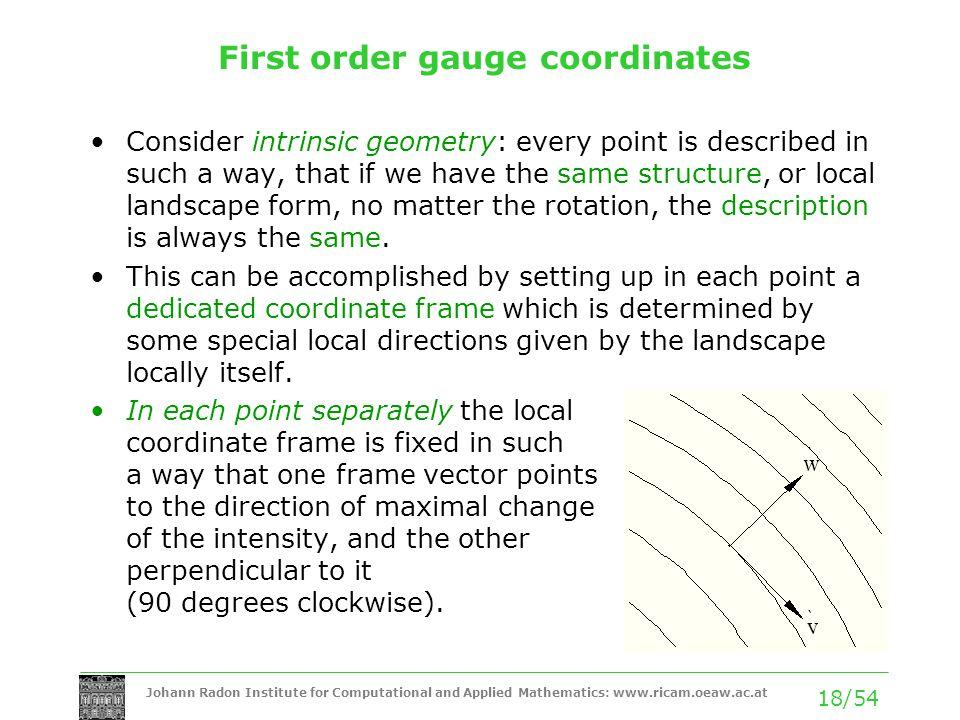 First order gauge coordinates
