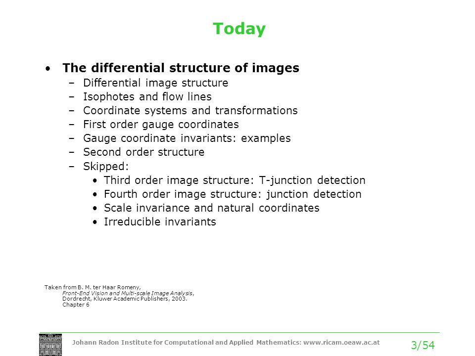 Today The differential structure of images