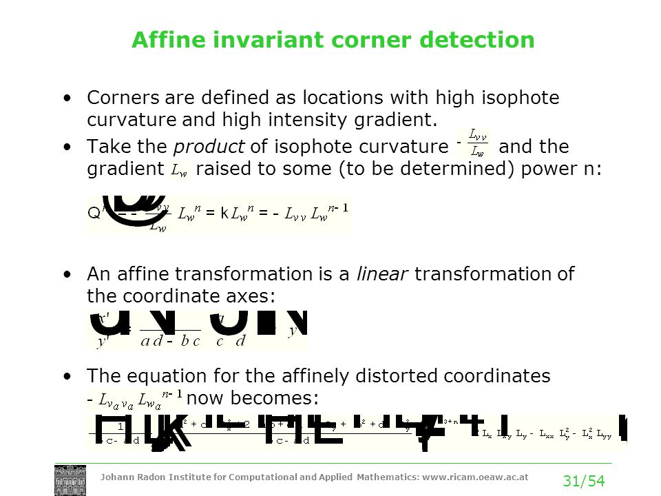 Affine invariant corner detection