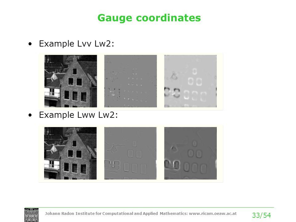 Gauge coordinates Example Lvv Lw2: Example Lww Lw2: