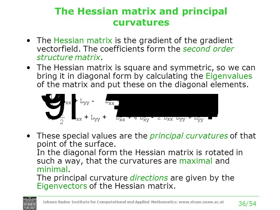 The Hessian matrix and principal curvatures