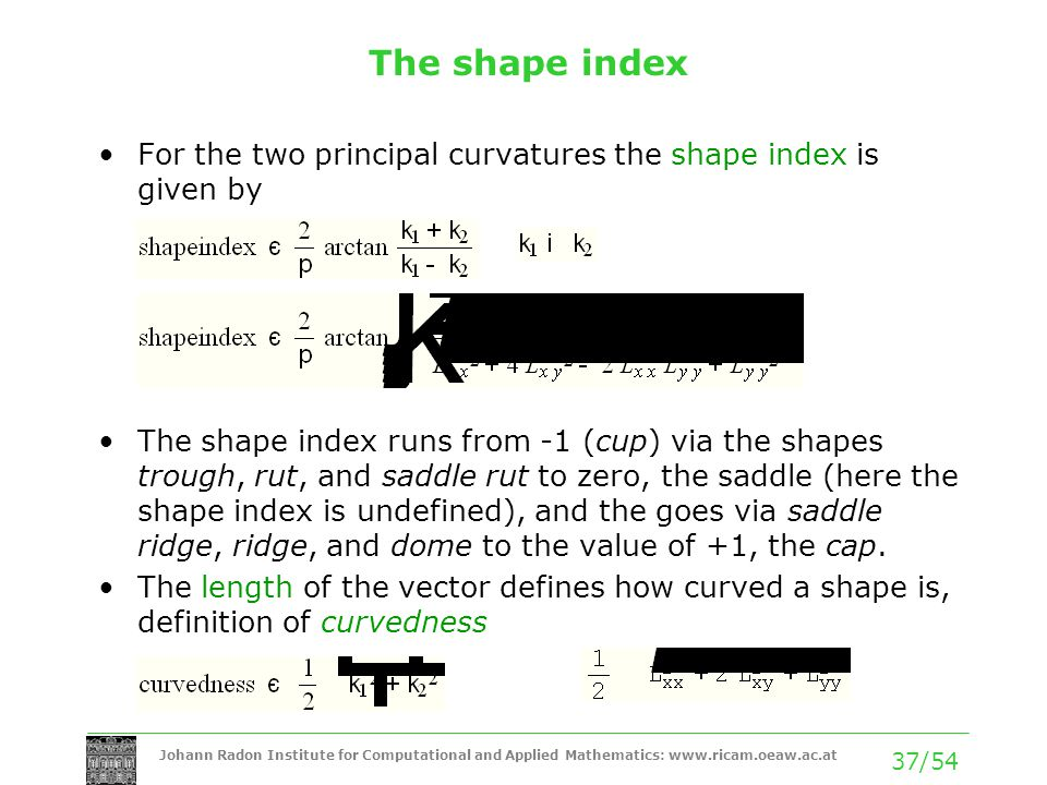 The shape index For the two principal curvatures the shape index is given by.