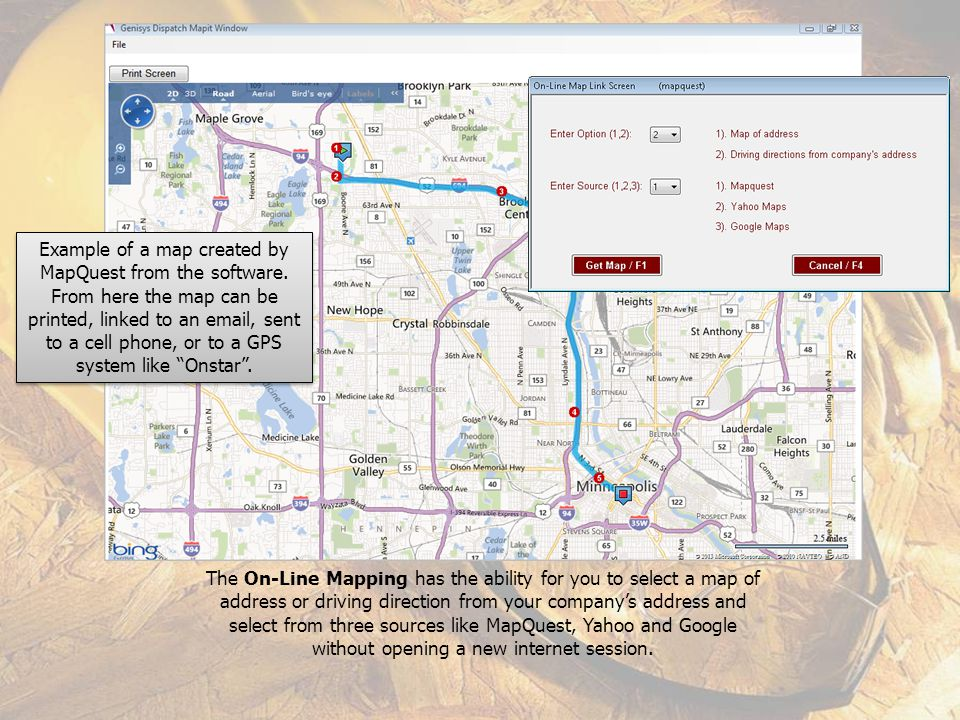 Example of a map created by MapQuest from the software