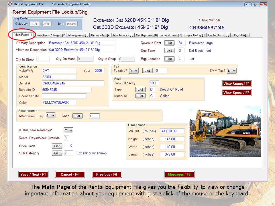 The Main Page of the Rental Equipment File gives you the flexibility to view or change