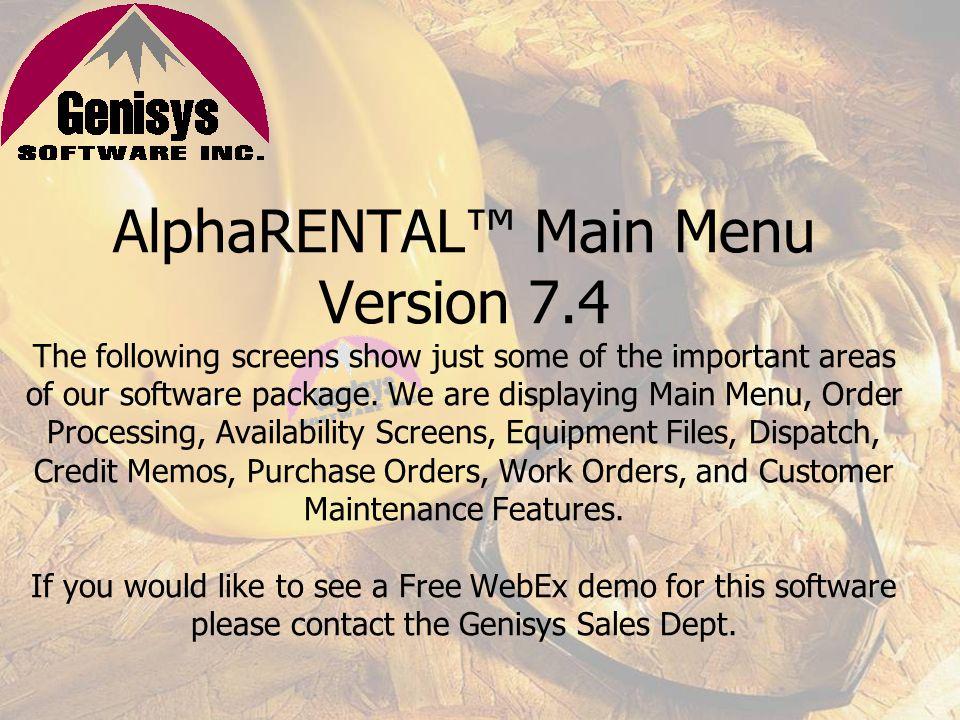 AlphaRENTAL™ Main Menu Version 7