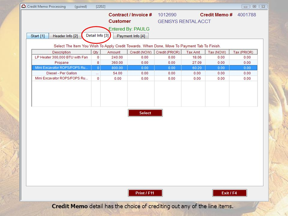 Credit Memo detail has the choice of crediting out any of the line items.
