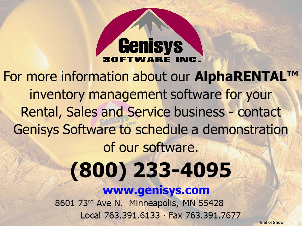 (800) 233-4095 For more information about our AlphaRENTAL™
