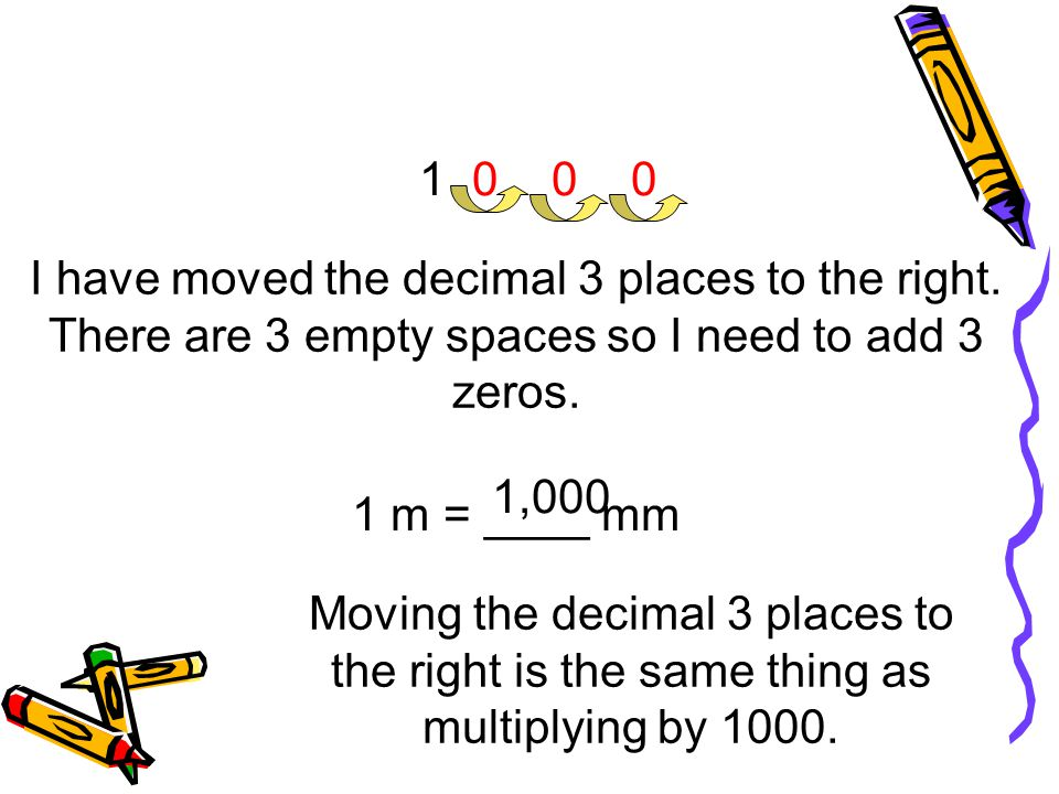 1 I have moved the decimal 3 places to the right. There are 3 empty spaces so I need to add 3 zeros.