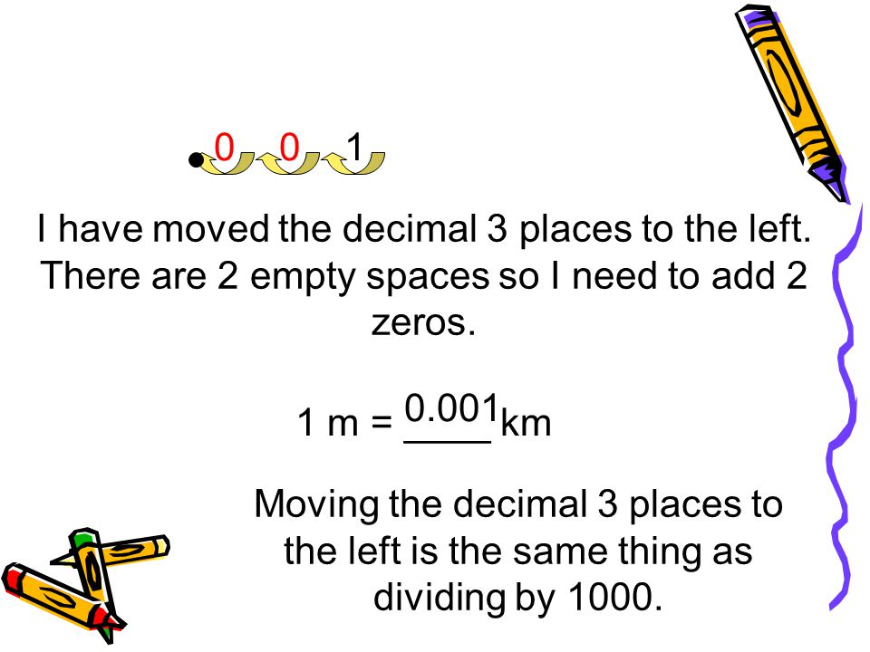 1 I have moved the decimal 3 places to the left. There are 2 empty spaces so I need to add 2 zeros.