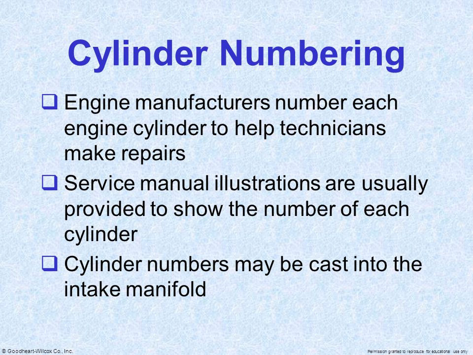 Cylinder Numbering Engine manufacturers number each engine cylinder to help technicians make repairs.
