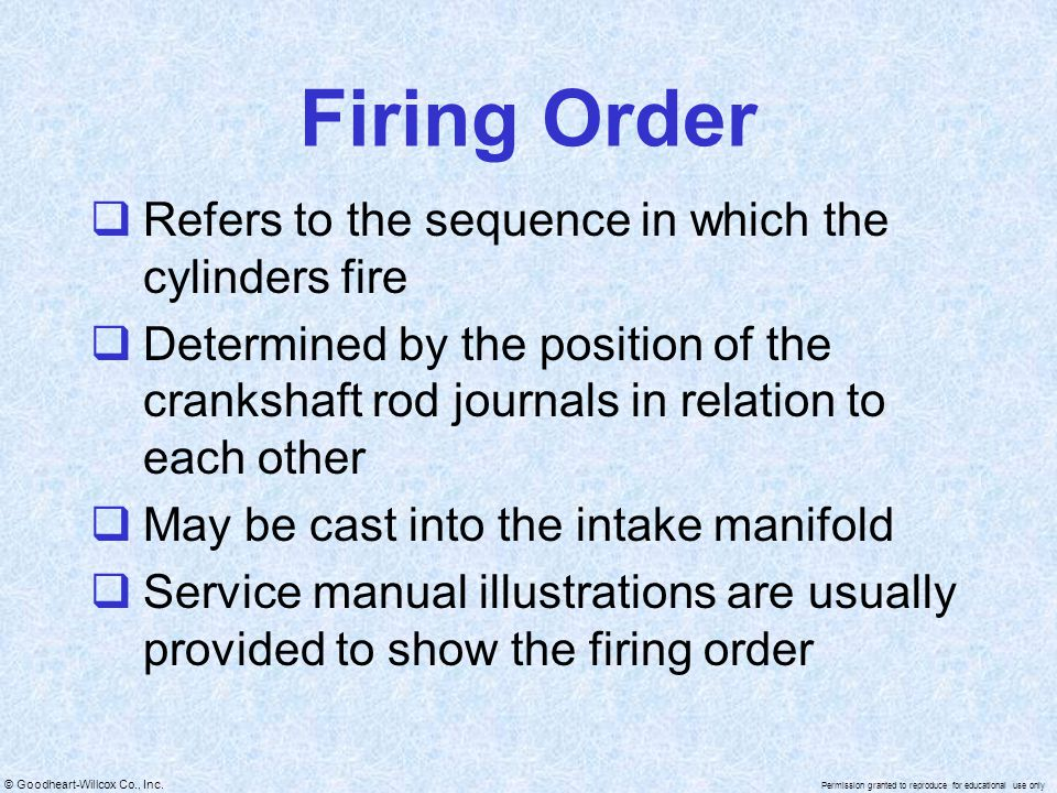 Firing Order Refers to the sequence in which the cylinders fire