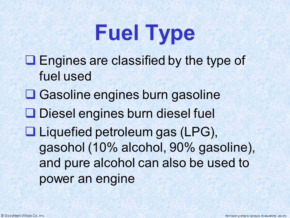Fuel Type Engines are classified by the type of fuel used