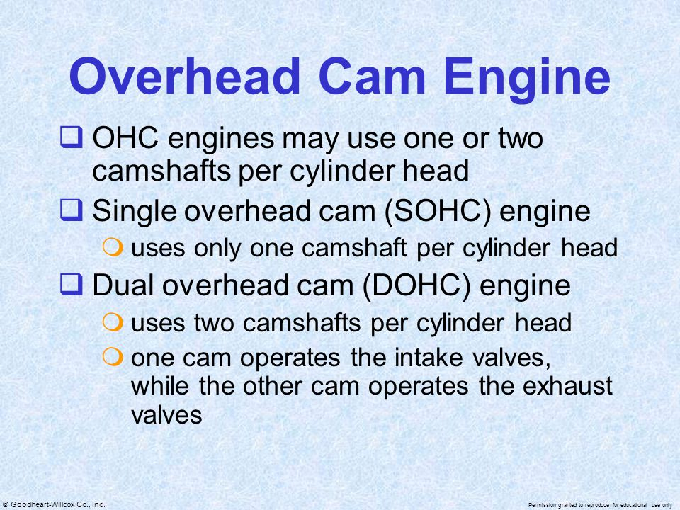 Overhead Cam Engine OHC engines may use one or two camshafts per cylinder head. Single overhead cam (SOHC) engine.