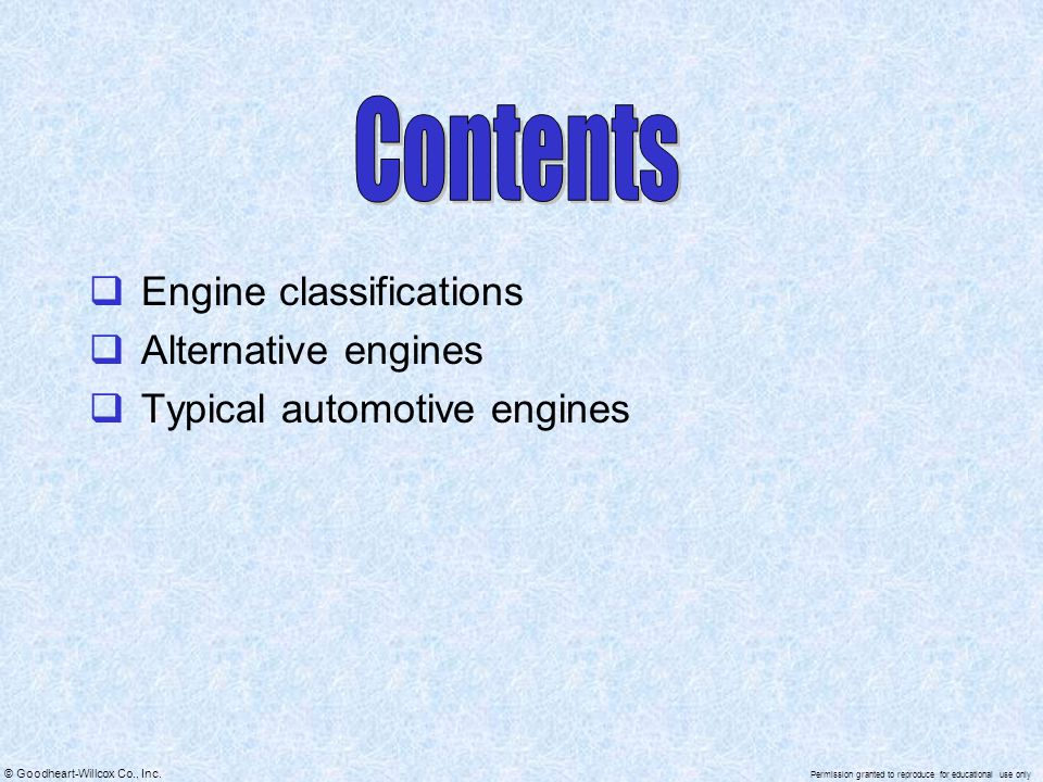 Contents Engine classifications Alternative engines