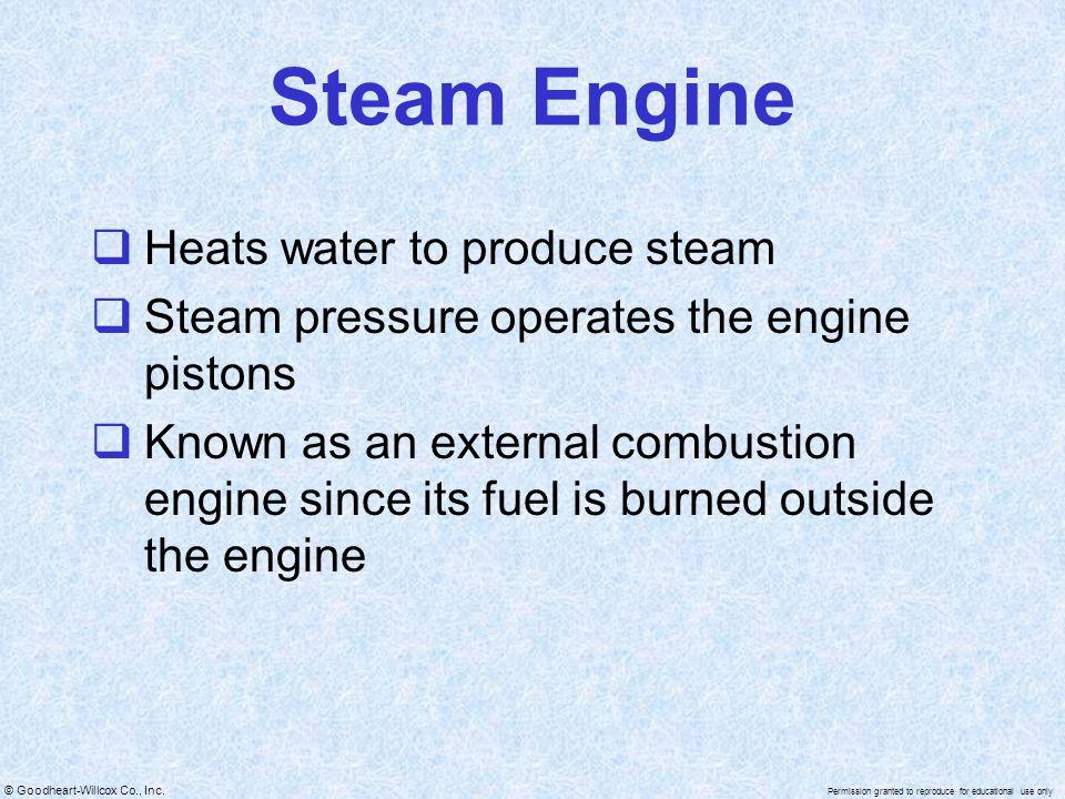 Steam Engine Heats water to produce steam