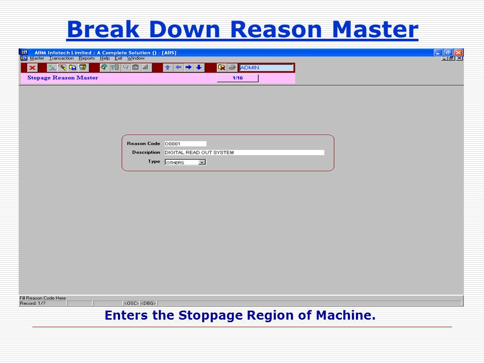 Break Down Reason Master