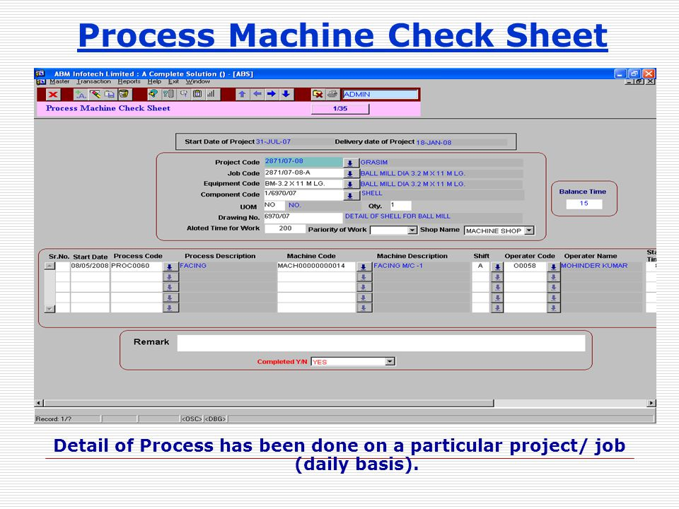 Process Machine Check Sheet