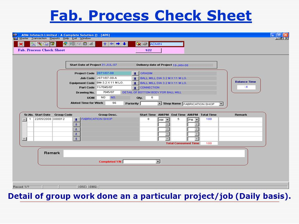 Fab. Process Check Sheet