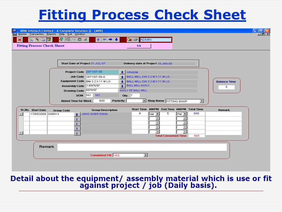 Fitting Process Check Sheet