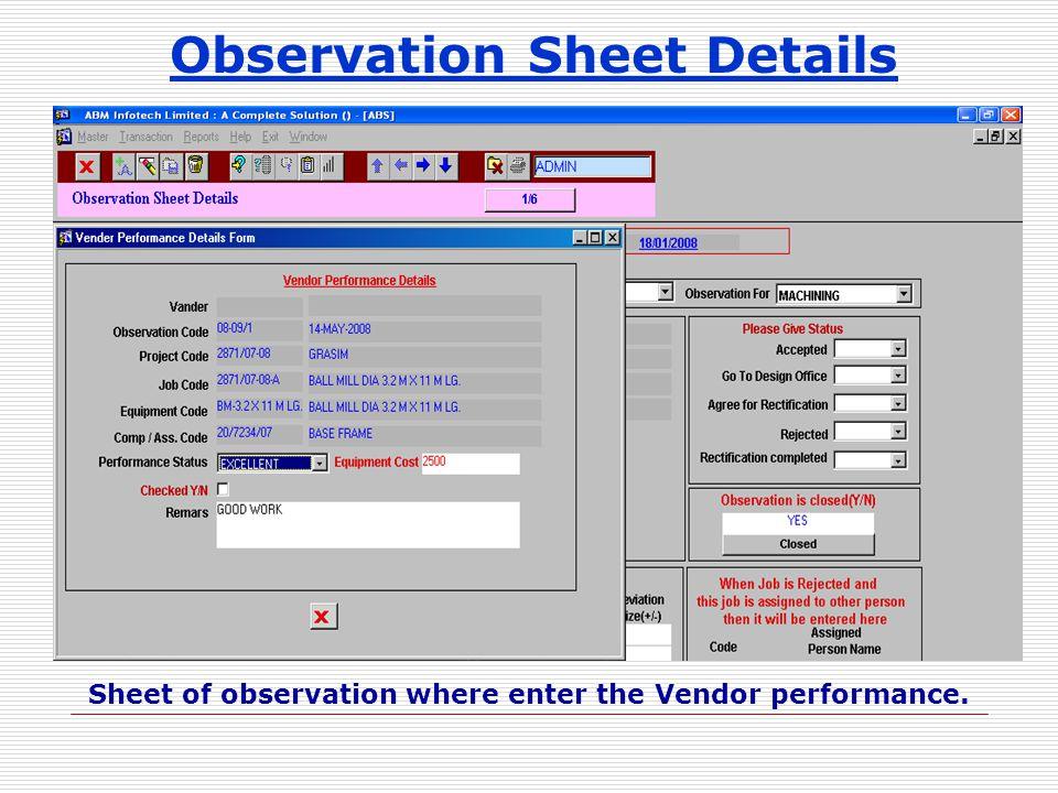 Observation Sheet Details