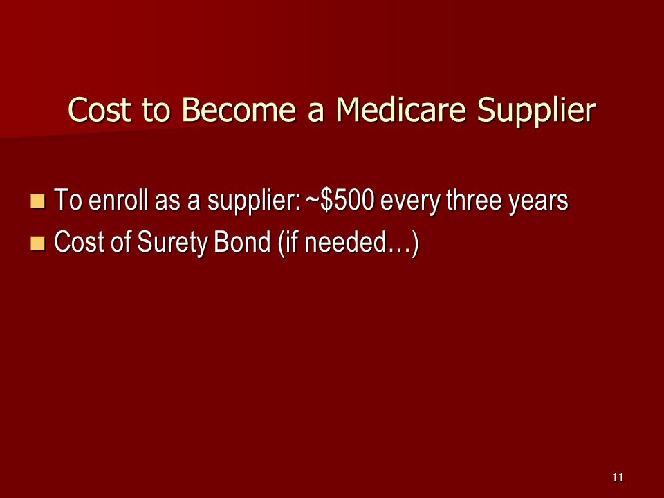 Cost to Become a Medicare Supplier