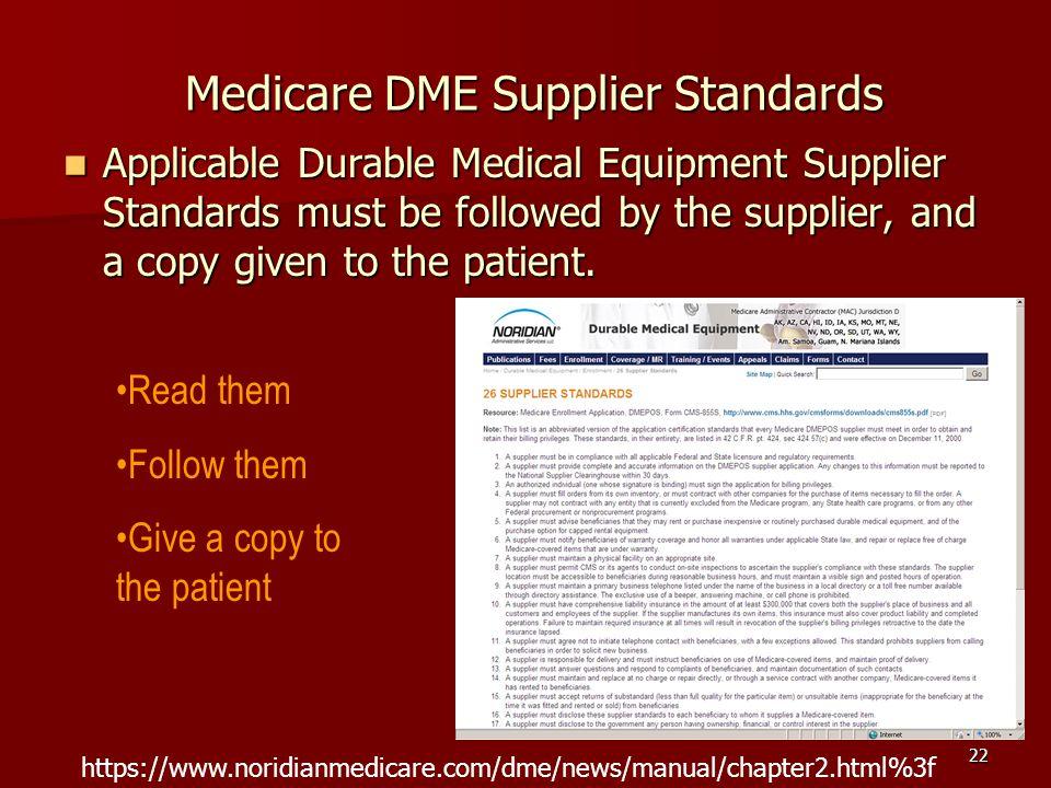 Medicare DME Supplier Standards