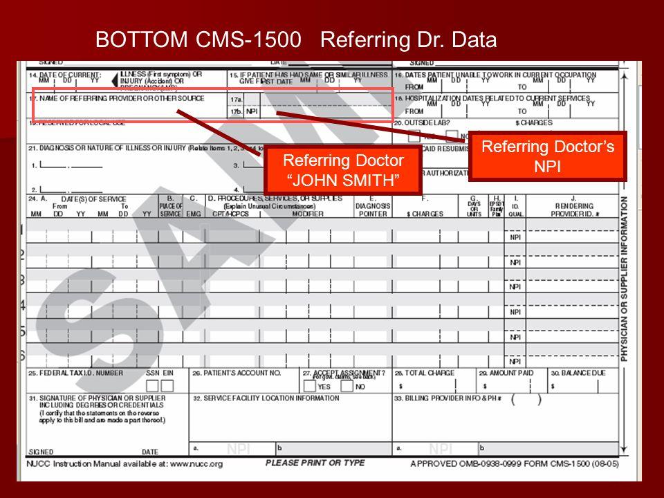 BOTTOM CMS-1500 Referring Dr. Data