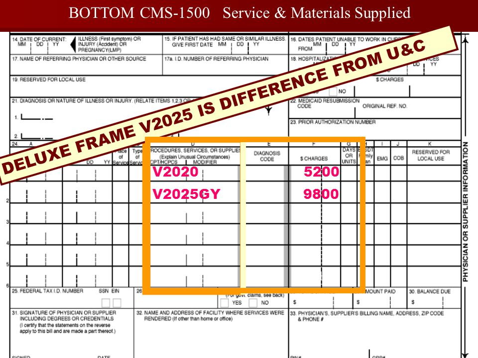 BOTTOM CMS-1500 Service & Materials Supplied