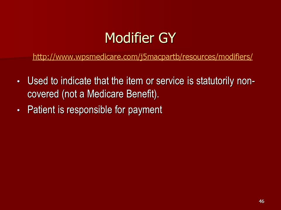 Modifier GY http://www.wpsmedicare.com/j5macpartb/resources/modifiers/