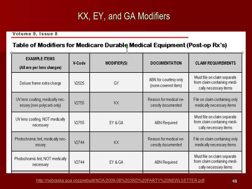 KX, EY, and GA Modifiers http://nebraska.aoa.org/prebuilt/NOA/2009-08%203RD%20PARTY%20NEWLSETTER.pdf.