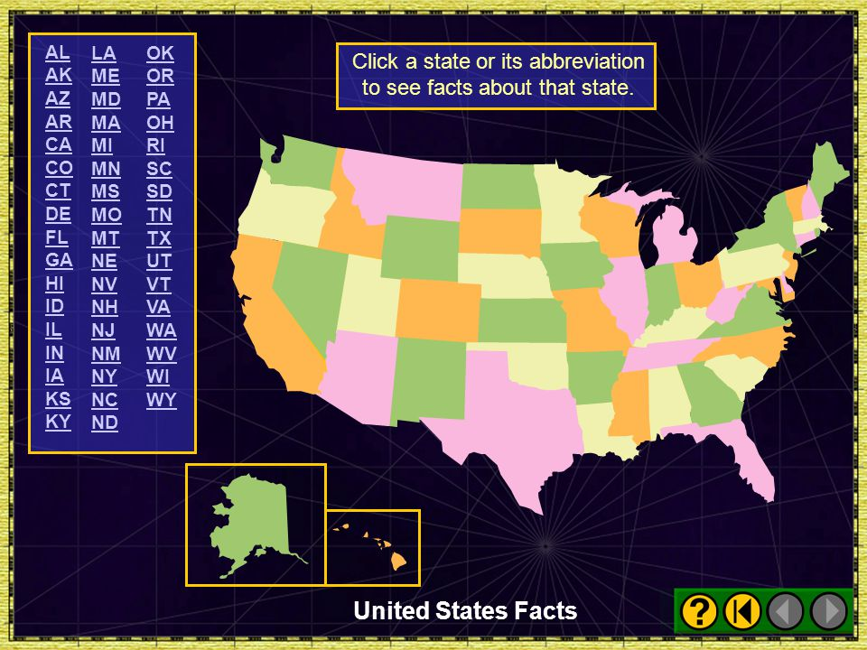 Click a state or its abbreviation to see facts about that state.