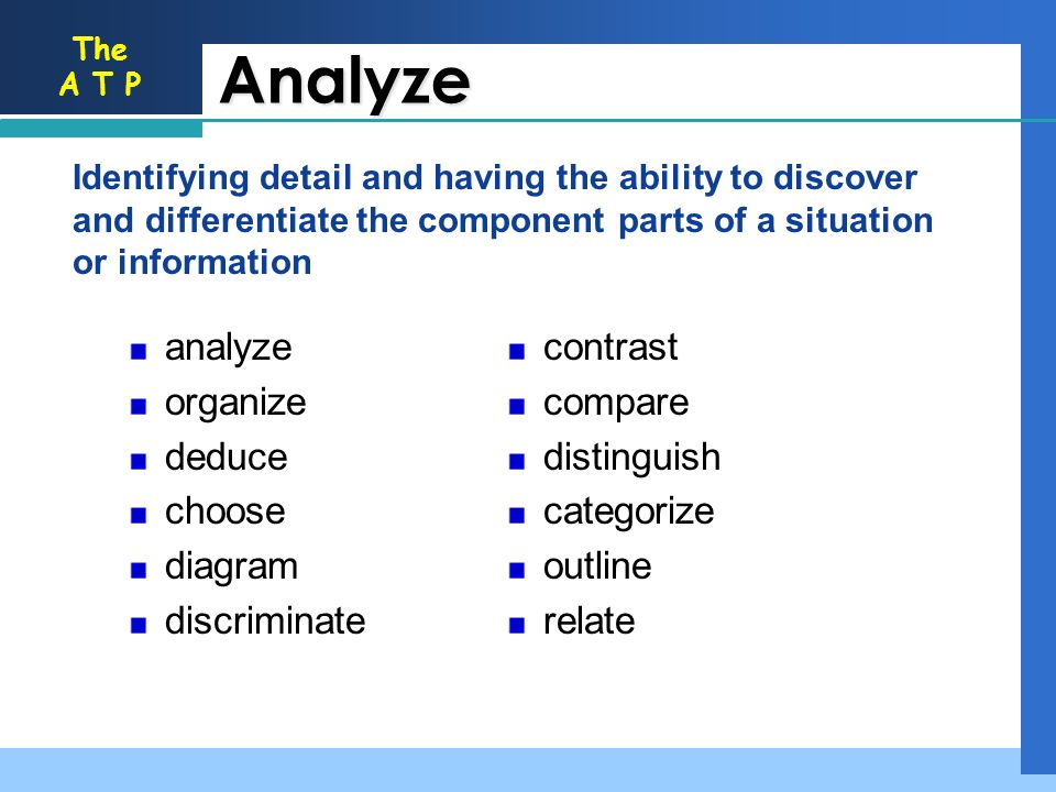 Analyze contrast compare distinguish categorize outline relate analyze