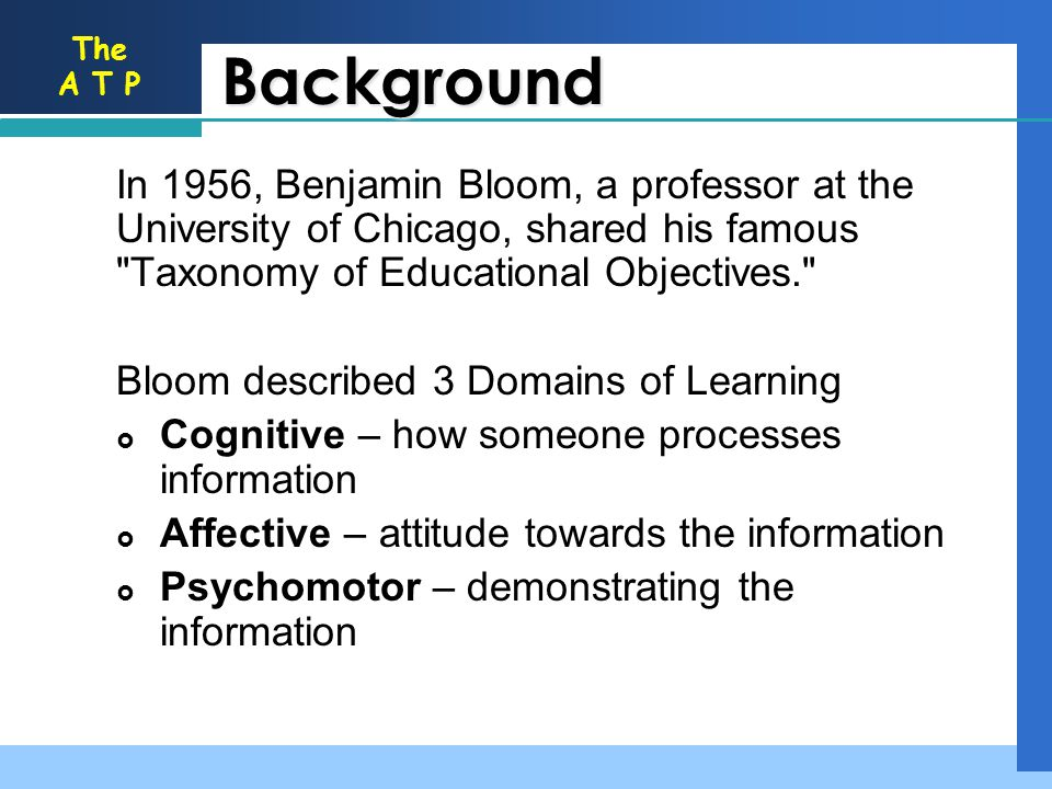 Background In 1956, Benjamin Bloom, a professor at the University of Chicago, shared his famous Taxonomy of Educational Objectives.