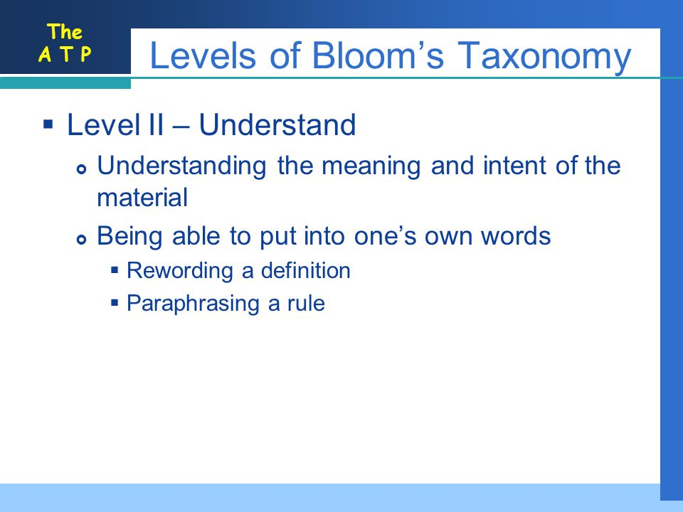 Levels of Bloom's Taxonomy