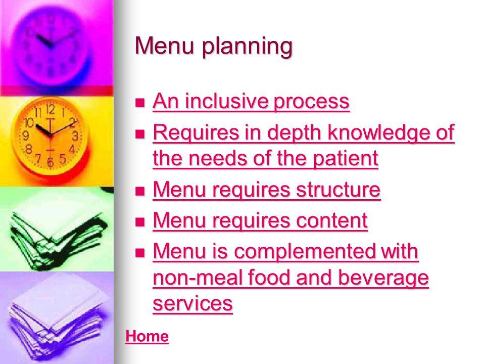 Menu planning An inclusive process