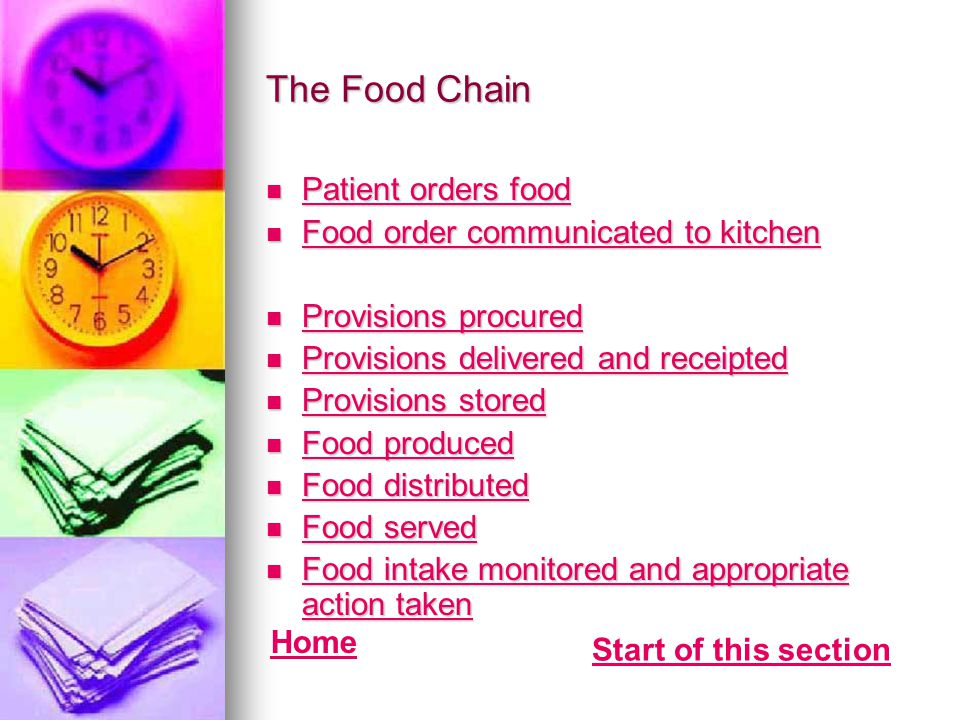 The Food Chain Patient orders food Food order communicated to kitchen