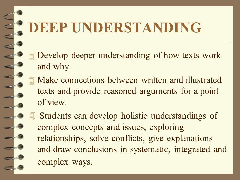 DEEP UNDERSTANDING Develop deeper understanding of how texts work and why.