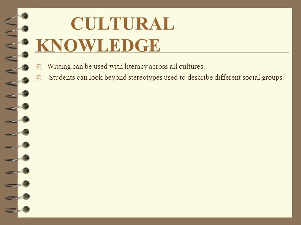 CULTURAL KNOWLEDGE Writing can be used with literacy across all cultures.